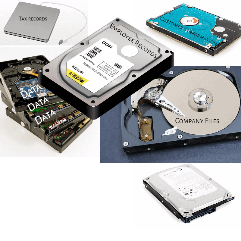 Hard drive and solid state memory for Data Destruction for business and health care.