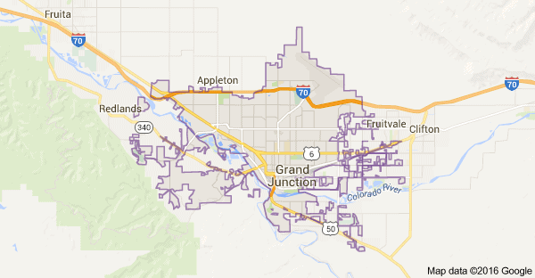 Grand Junction City map showing service Area for e-Waste Pick up.