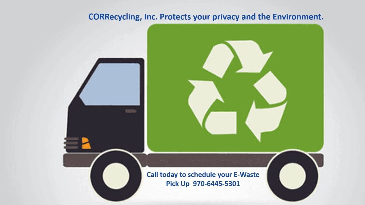 E-Waste Recycling Truck on its way to a small business to pick up Elrctronics for recycle, with phone number 970-644-5301