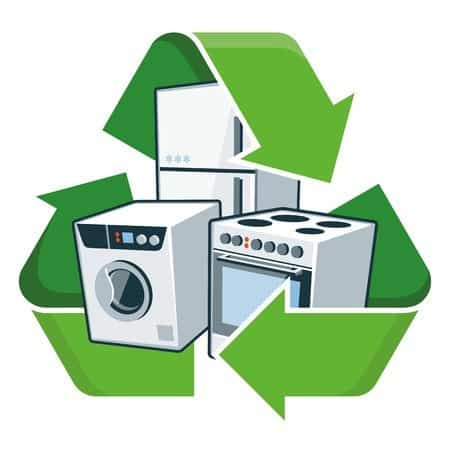 large electronic home appliances with recycling symbol isolated vector illustration waste electrical and electronic equipment