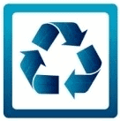 Blue Recycle electronics Icon for collection events available from Aspen Colorado to Moab Utah.