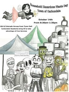 Hand drawn flyer CORRecycling Poster for Carbondale Electronics Recycling Event